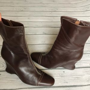 BCBGMaxAzria brown leather wedge boots
